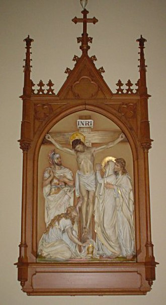 Stations of the Cross - The 12th Station of the Cross – Jesus dies on the Cross. St. Raphael's Cathedral, Dubuque, Iowa.