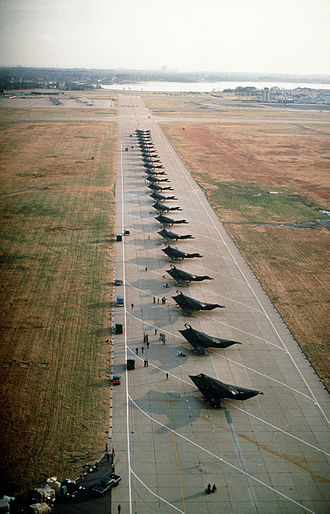 37th Training Wing - F-117A aircraft from the 37th Tactical Fighter Wing at Langley AFB, Virginia, prior to being deployed to Saudi Arabia for Operation Desert Shield