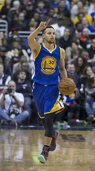 Stephen Curry is one of the best scoring point guards in NBA history. Stephen Curry dribbling 2016.jpg