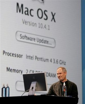 Stevenote - Jobs shows Mac OS X running on an Intel Pentium 4.