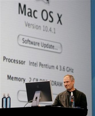 Stevenote - Jobs shows Mac OS X running on an Intel Pentium 4.