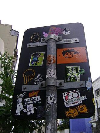 Sticker - Sticker vandalism in São Paulo, Brazil