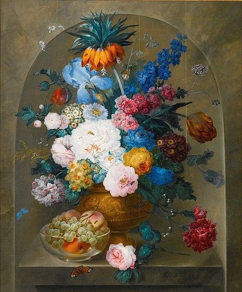File:Still Life of Flowers in a Vase with a Bowl of Fruit by Johann Baptist Drechsler, 1807.jpg