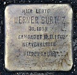 Photo of Werner Burthz brass plaque