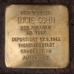 Photo of Lucie Cohn brass plaque