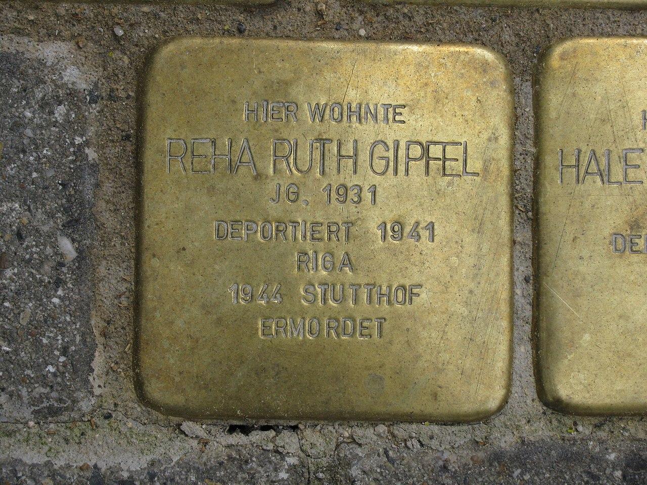 Stolperstein Reha Ruth Gipfel, 1, Untere Königsstraße 86, Wesertor, Kassel.jpg