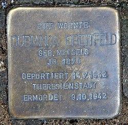 Photo of Dubianca Breitfeld brass plaque