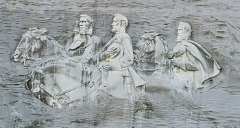 A mosaic stitched image of Stone Mountain, Geo...