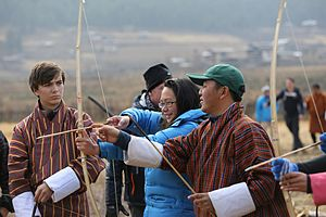 Think Global School - Students practice archery in Bhutan