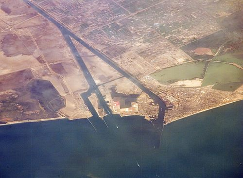 Port Said, at the entrance to the Suez Canal from the Mediterranean. Suez Canal, Port Said - ISS 2.jpg