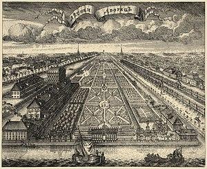 Summer Garden - Vista through the Summer Garden towards the Summer Palace, 1716