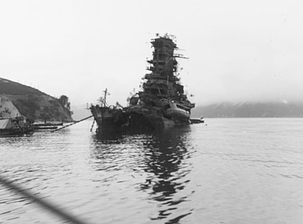 The rebuilt battlecruiser Haruna sank at her moorings in the naval base of Kure on July 24 during a series of bombings. Japanese battleship Haruna sunk.jpg