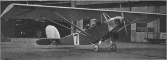 """Lympne light aircraft trials - Supermarine Sparrow II, G-EBJP; marked as number """"7"""" for the 1926 trials"""