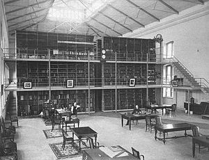 Army Medical Museum and Library - Library Hall at the AMML; Dr John Shaw Billings (1838–1913) sits at a table on the right; Photo ca. 1890.