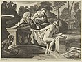 Susanna, partly naked and stepping out of a fountain with two elders at left, one of them pulling at her garment, after Reni MET DP841467.jpg