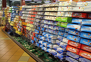 Migros - A chocolate (Frey) aisle in a branch of Migros in Interlaken. The M-Budget chocolate is just visible on the bottom shelf.