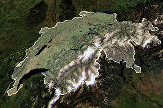 Outline of Switzerland - An enlargeable satellite image of Switzerland
