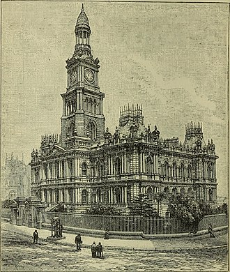 "Sydney Town Hall - Image: Sydney Town Hall, 1893 from ""Australia and New Zealand"""