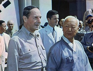 Syngman Rhee - Syngman Rhee and Douglas MacArthur at the Ceremony inaugurating the government of the Republic of Korea.