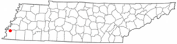 Location of Millington, Tennessee