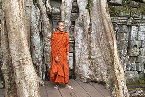 Bhikkhu - A Cambodian monk in his robes