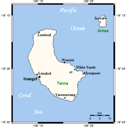 Map of Tanna and Aniwa, with Aniwa at the top right