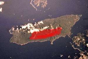 Mount Taveuni - Red areas show where most vents were formed