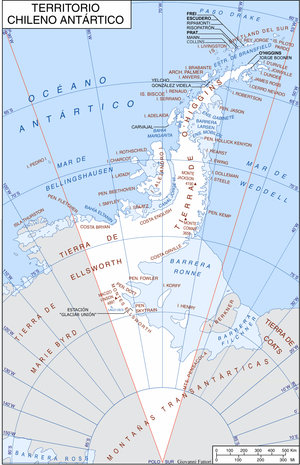 Antártica Chilena Province - Chilean Antarctic Territory map in Spanish, Chilean names. It shows the Chilean research stations