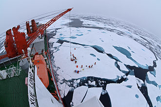MV Xue Long - Drift ice camp in the middle of the Arctic Ocean as seen from the deck of icebreaker Xue Long.