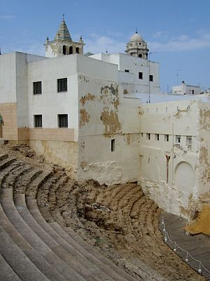 Roman Theatre (Cádiz) - View of the theatre steps, with the domes of the Cádiz Cathedral in the background