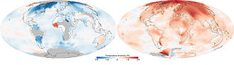 Effects of global warming - Image: Temperatures across the world in the 1880s (left) and the 1980s (right), as compared to average temperatures from 1951 to 1980 (US EPA)