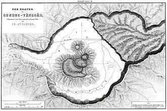 Bromo Tengger Semeru National Park - 19th century map of Tengger Caldera showing several volcanoes forming within the vast Tengger Caldera