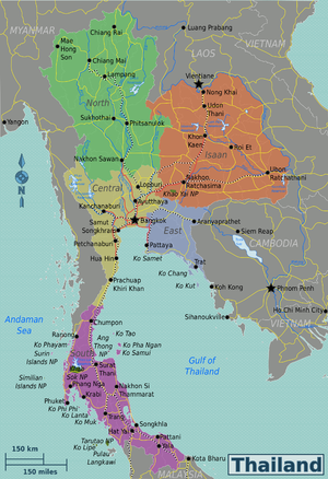 Regions of Thailand - TAT five-region division system