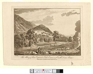 The Abbey of Llan Egwerst or Vale Crucis, and Castle Dinas Bran