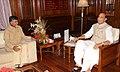 The Andhra Pradesh Chief Minister-designate, Shri N. Chandrababu Naidu calling on the Union Home Minister, Shri Rajnath Singh, in New Delhi on May 30, 2014 (1).jpg