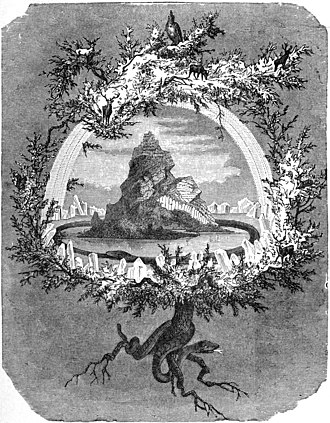 "Norse mythology - The cosmological, central tree Yggdrasil is depicted in ""The Ash Yggdrasil"" by Friedrich Wilhelm Heine (1886)"