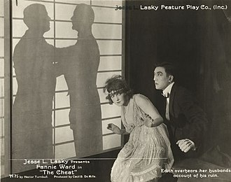 The Cheat (1915 film) - Edith Hardy (Fannie Ward) and Hishuru Tori (Sessue Hayakawa) in The Cheat