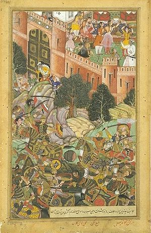 Roopmati - The Defeat of Baz Bahadur of Malwa by the Mughal Troops, while Rani Roopmati, and her female companions, view the scene from the terrace of the fort. 1561- Akbarnama, ca 1590-1595 CE.