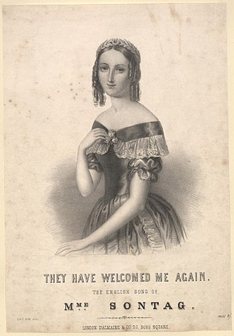 """Henriette Sontag - Sontag on cover of sheet music for song, """"They have welcomed me again"""""""