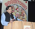 "The Minister of State for Human Resource Development, Dr. Shashi Tharoor addressing at the release of a book titled ""BOOMTOWN"", written by Aditya Mukherjee, in New Delhi on July 15, 2013.jpg"