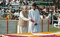 The Opposition Leader in the Lok Sabha, Shri L.K. Advani paying floral tributes to the father of the Nation Mahatma Gandhi on his 137th birth anniversary, at his Samadhi at Rajghat, in Delhi on October 02, 2006.jpg