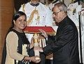 The President, Shri Pranab Mukherjee presenting the Padma Shri Award to Smt. Saba Anjum, at a Civil Investiture Ceremony, at Rashtrapati Bhavan, in New Delhi on April 08, 2015.jpg
