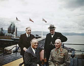 Quebec City - Mackenzie King, Franklin Roosevelt, Winston Churchill, and the Earl of Athlone (left-to-right) at the First Quebec Conference, a secret military conference held in World War II.
