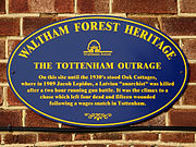 Plaque from Oak Cottage, installed by Waltham Forest Council