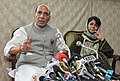 The Union Home Minister, Shri Rajnath Singh and the Chief Minister of Jammu and Kashmir, Ms. Mehbooba Mufti addressing a press conference, in Srinagar on August 25, 2016.jpg