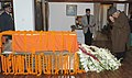 The Union Minister for New and Renewable Energy, Dr. Farooq Abdullah paying homage at the mortal remains of the former Prime Minister, Shri Inder Kumar Gujral, in New Delhi on December 01, 2012.jpg