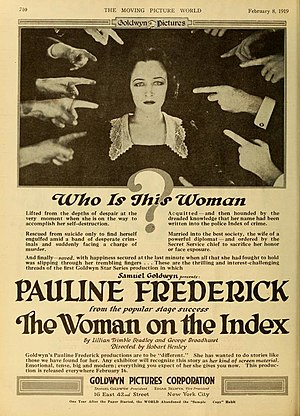 Pauline Frederick - The Woman on the Index (1919)