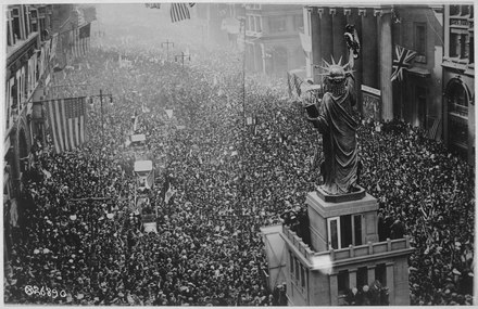 The announcing of the armistice on November 11, 1918, was the occasion for large celebrations in the allied nations. The announcing of the armistice on November 11, 1918, was the occasion for a monster celebration in Philadelphia... - NARA - 533478.tif