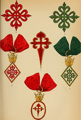 Spanish military orders - The Order of Calatrava (left), the Order of Santiago (centre) and the Order of Alcántara (right) in The book of orders of knighthood and decorations of honour of all nations, 1858