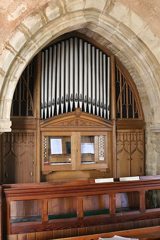 The Church of the Holy and Undivided Trinity, Edale - Image: The organ, Edale Church